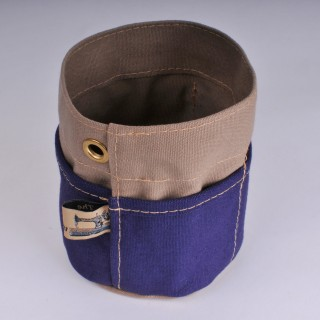Desk Tidy - Khaki and Navy Blue