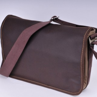 Waxed Cotton Shoulder Bag - Waxed brown and khaki