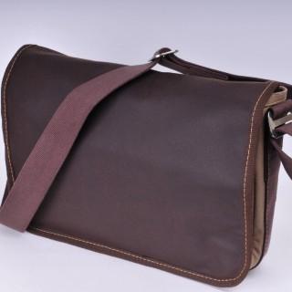 Waxed Cotton Shoulder Bag - Waxed brown and khaki