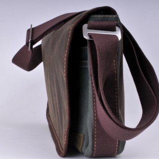 Waxed Cotton Shoulder Bag Waxed Olive and Olive
