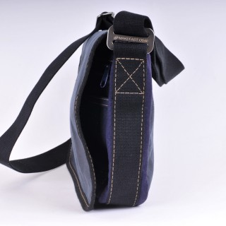 Waxed Cotton Shoulder Bag - Waxed Navy Blue and Navy Blue