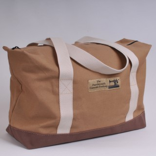 Zip Top Shopper - Khaki and Brown