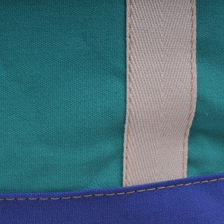 Zip Top Shopper - Green and Royal Blue