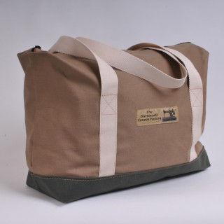 Zip Top Shopper - Khaki and Olive