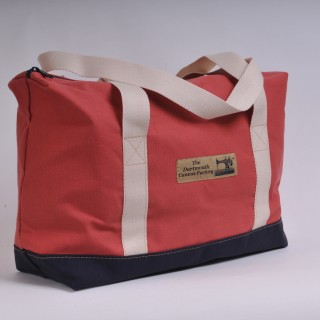Zip Top Shopper - Red and Navy Blue