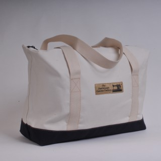 Zip Top Shopper - Natural and Navy Blue