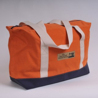 Zip Top Shopper - Orange and Navy Blue