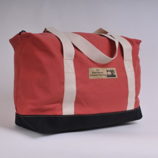 Zip Top Shopper - Red and Black