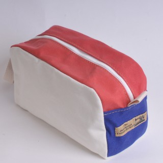Wash Bag - Natural, Red and Royal Blue