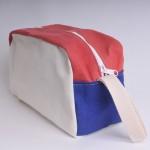 Wash Bag - Natural, Red and Royal Blue