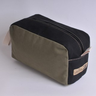 Wash Bag - Khaki and Black