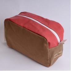 Wash Bag - Khaki and Red