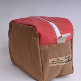 Wash Bag - Khaki and Red