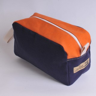 Wash Bag - Navy Blue and Orange