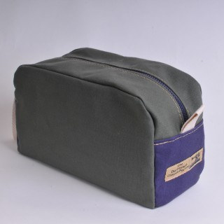 Wash Bag - Olive and Navy Blue