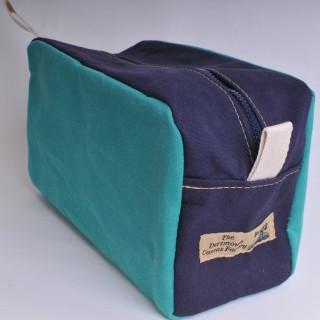Wash Bag - Green and Navy Blue