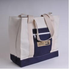 Canvas Shopper - Natural and Navy Blue