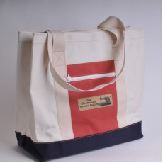 Canvas Shopper - Natural, navy Blue and Red