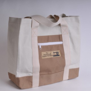 Canvas Shopper - Natural and Khaki