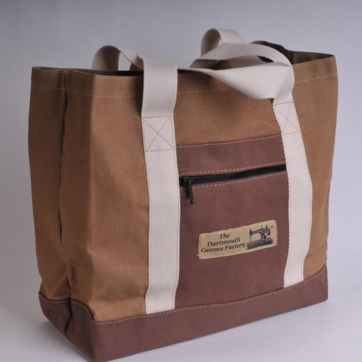 Canvas Shopper - Khaki and Brown
