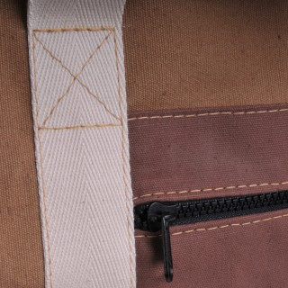 Canvas Shopper - Khaki and Brown