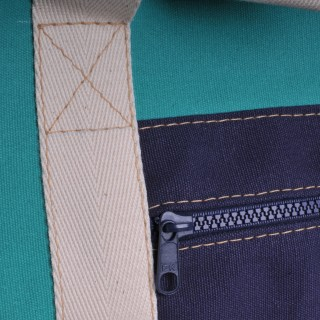 Canvas Shopper - Green and Navy
