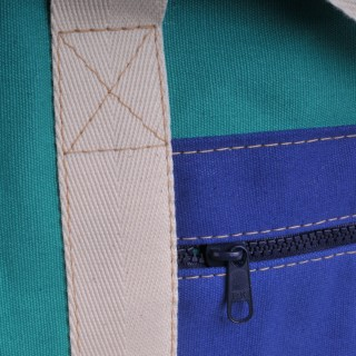 Canvas Shopper - Green and Royal Blue