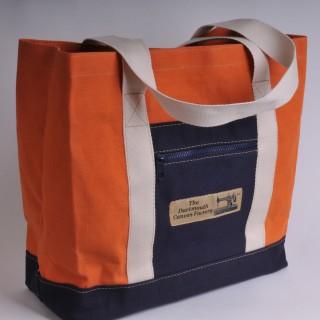 Canvas Shopper - Orange and Navy Blue