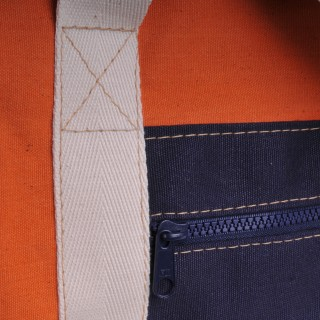 Canvas Shopper - Orange and Navy Blue