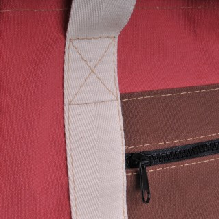 Canvas Shopper - Red and Brown