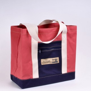 Canvas Shopper - Red and Navy Blue