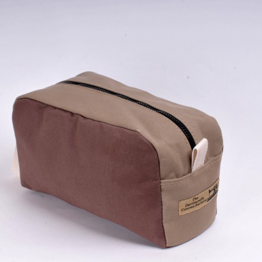 Wash Bag - Brown and Khaki