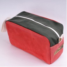 Wash Bag - Red and Olive