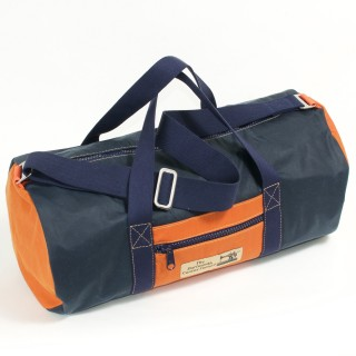 Holdall Waxed Cotton Navy and Orange