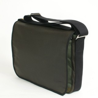 Waxed Cotton Laptop Bag - Olive and Black