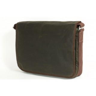 Waxed Cotton Laptop Bag - Brown and Brown
