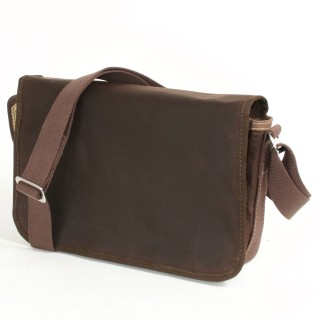 Waxed Cotton Shoulder Bag - Waxed Brown and Brown