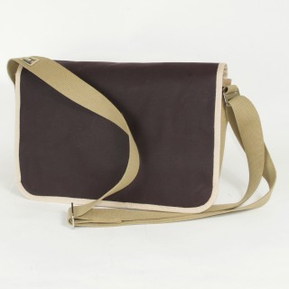 Waxed Cotton Shoulder Bag - Mulberry and Tan