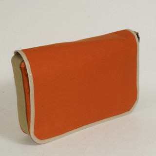 Waxed Cotton Shoulder Bag - Waxed Orange and Tan