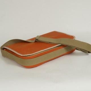 Waxed Cotton Shoulder Bag - Waxed Orange and Tan