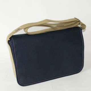 Waxed Cotton Shoulder Bag - Navy  Blue and Tan
