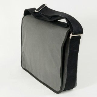 Waxed Cotton Shoulder Bag - Grey and Black