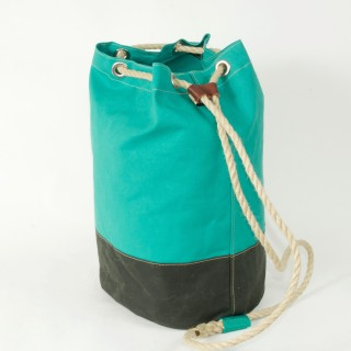 Waxed Cotton Duffel Bag - Green and Olive