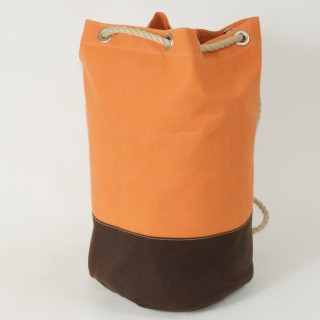 Waxed Cotton Duffel Bag - Orange and Brown