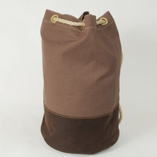 Waxed Cotton Duffel Bag - Tan and Brown