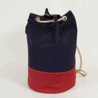Waxed Cotton Duffel Bag - Navy and Red