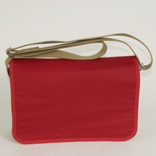 Waxed Cotton Shoulder Bag - Red and Tan