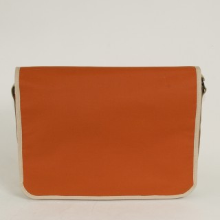 Waxed Cotton Laptop Bag - Orange and Tan