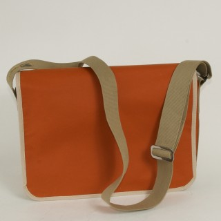 Waxed Cotton Laptop Bag - Orange and Tan