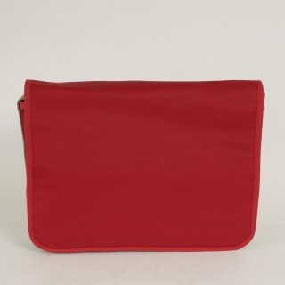Waxed Cotton Laptop Bag - Red and Tan